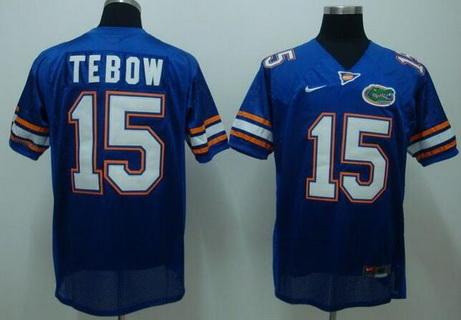 Men's Florida Gators #15 Tim Tebow Blue College Football Nike Limited Jersey