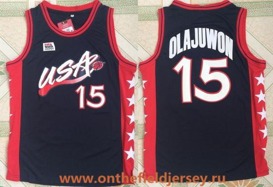 1996 Olympics Team USA Men's #15 Hakeem Olajuwon Navy Blue Retro Stitched Basketball Swingman Jersey