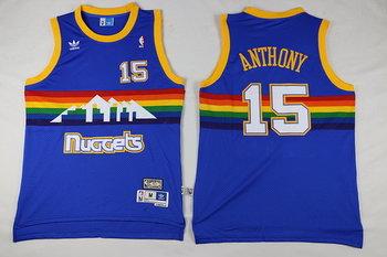 Men's Denver Nuggets #15 Carmelo Anthony Blue Rainbow Hardwood Classics Soul Swingman Throwback Jersey