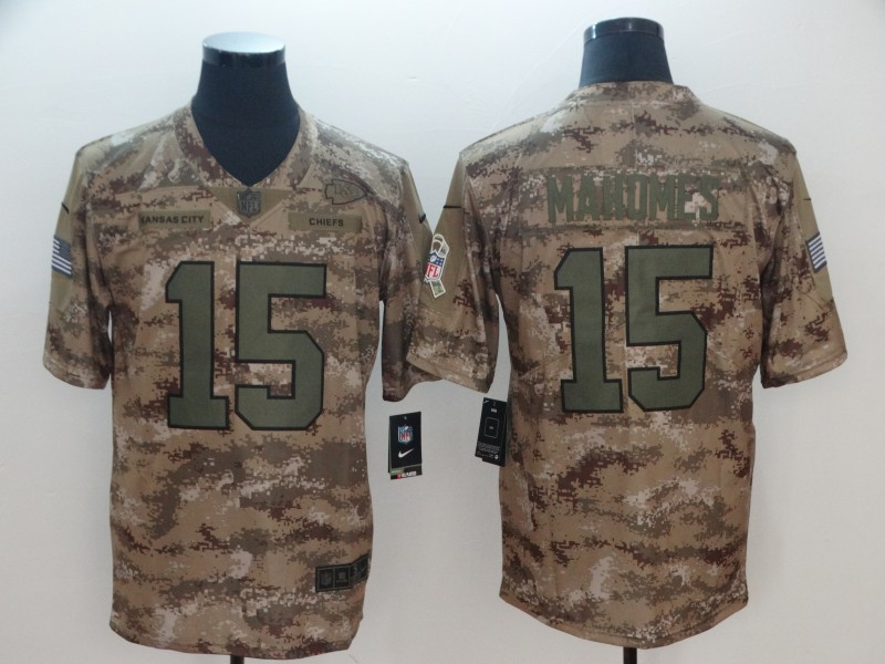 Men's Kansas City Chiefs #15 Patrick Mahomes Nike Camo 2018 Salute to Service Stitched NFL Limited Jersey