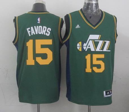 Utah Jazz #15 Derrick Favors Revolution 30 Swingman New Green Swingman Jersey