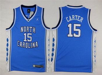 Youth North Carolina Tar Heels #15 Vince Carter Light Blue Soul Swingman College Basketball Jersey