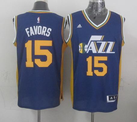 Utah Jazz #15 Derrick Favors Revolution 30 Swingman New Navy Blue Swingman Jersey