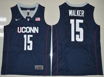 Men's Uconn Huskies #15 Kemba Walker Navy Blue Nike College Basketball Swingman Jersey