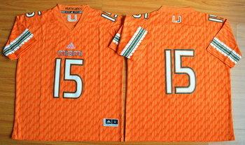 Men's Miami Hurricanes #15 Brad Kaaya Orange 2015 College Football adidas Jersey