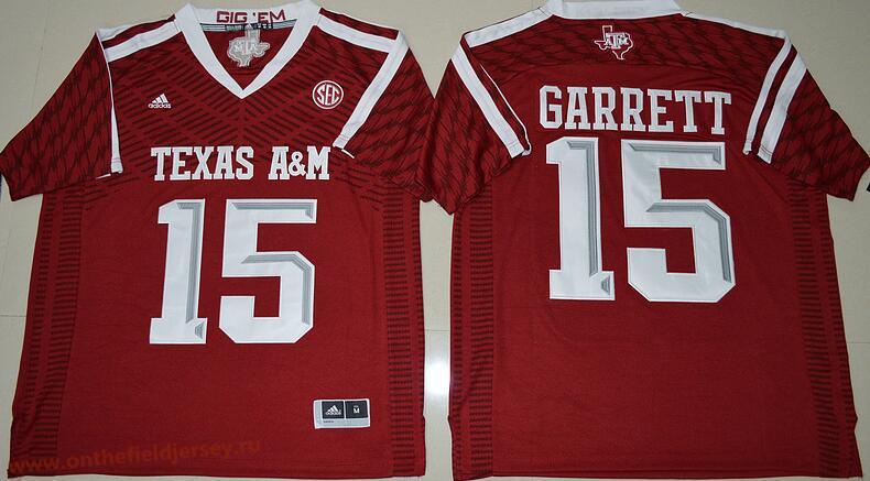 Men's Texas A&M Aggies #15 Myles Garrett Red Stitched College Football 2016 adidas NCAA Jersey