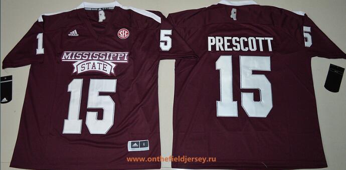 Mississippi State Bulldogs #15 Dak Prescott Red Stitched NCAA adidas 2016 College Football Jersey