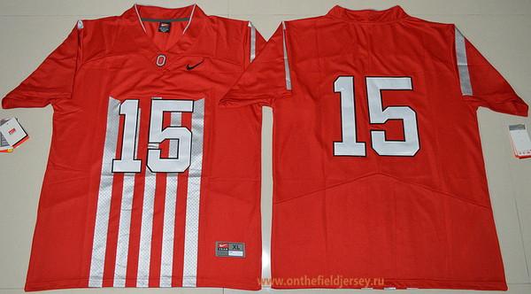 Men's Ohio State Buckeyes #15 Ezekiel Elliott 1917 Throwback Red Limited Stitched College Football Nike NCAA Jersey