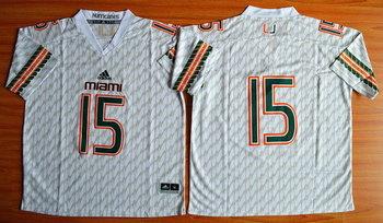 Men's Miami Hurricanes #15 Brad Kaaya White 2015 College Football adidas Jersey