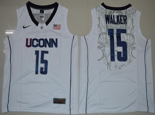 Men's Uconn Huskies #15 Kemba Walker White Nike College Basketball Swingman Jersey