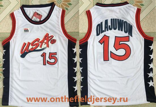 1996 Olympics Team USA Men's #15 Hakeem Olajuwon White Retro Stitched Basketball Swingman Jersey