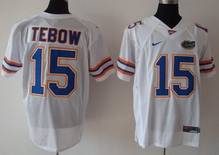 Men's Florida Gators #15 Tim Tebow White College Football Nike Limited Jersey