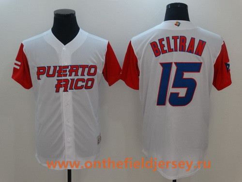 Men's Puerto Rico Baseball #15 Carlos Beltran Majestic White 2017 World Baseball Classic Stitched Authentic Jersey