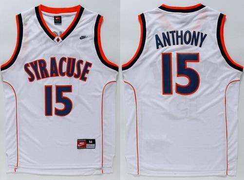 Men's Syracuse Orange #15 Camerlo Anthony White College Basketball Nike Jersey