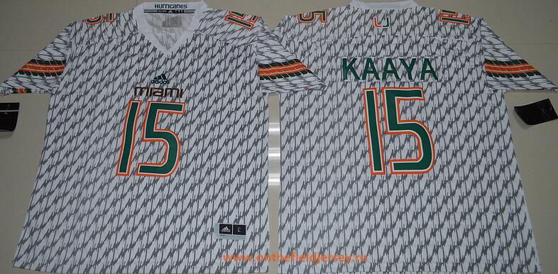 Men's Miami Hurricanes #15 Brad Kaaya White Stitched NCAA 2016 adidas College Football Jersey