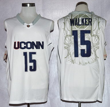 Men's Connecticut Huskies #15 Kemba Walker White College Basketball Nike Jersey