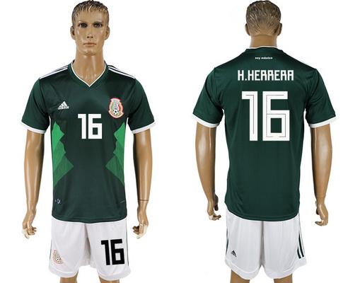 2018 World Cup Mexico National Team Home Green #16 H. Herrera Men's Soccer Shirt Kit