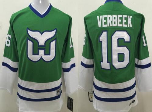 Youth Hartford Whalers #16 Pat Verbeek Green CCM Vintage Throwback Hockey Jersey