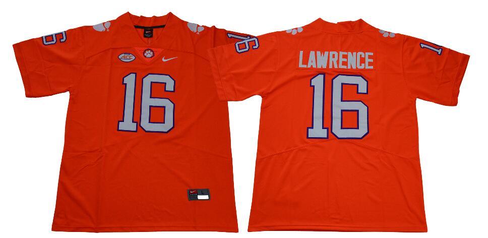 Men's Clemson Tigers #16 Trevor Lawrence Nike Orange NCAA College Football Jersey