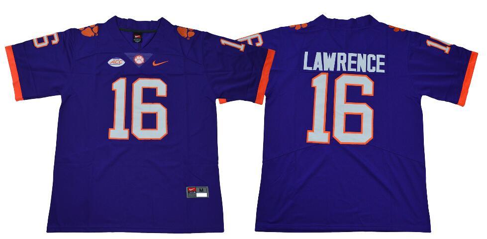 Men's Clemson Tigers #16 Trevor Lawrence Nike Purple NCAA College Football Jersey