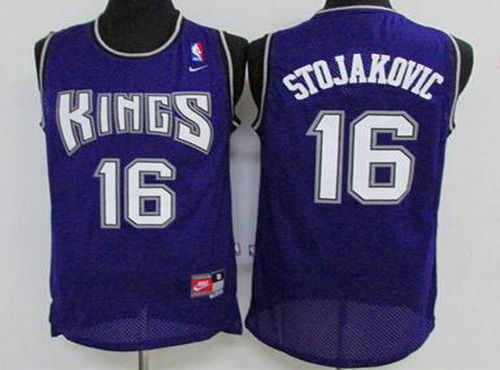 Men's Sacramento Kings #16 Peja Stojakovic Purple Soul Swingman Jersey