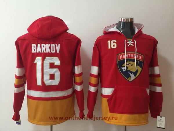 Men's Florida Panthers #16 Aleksander Barkov Red Pocket Stitched NHL Old Time Hockey Pullover Hoodie
