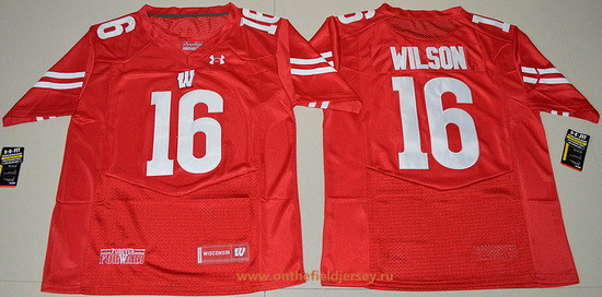 Men's Wisconsin Badgers #16 Russell Wilson Red Stitched College Football 2016 Under Armour NCAA Jersey