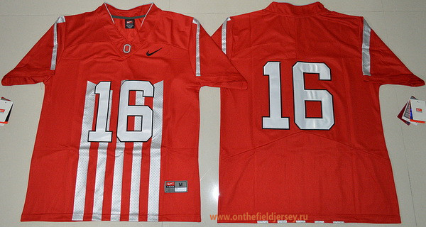 Men's Ohio State Buckeyes #16 J.T. Barrett 1917 Throwback Red Limited Stitched College Football Nike NCAA Jersey