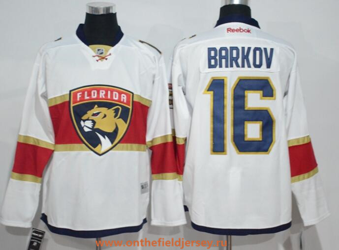 Men's Florida Panthers #16 Aleksander Barkov White Away Stitched NHL 2016-17 Reebok Hockey Jersey