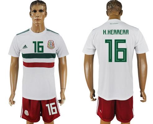 2018 World Cup Mexico National Team Away White #16 H. Herrera Men's Soccer Shirt Kit