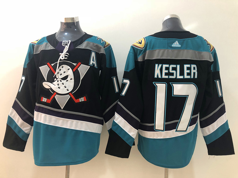 Men's Anaheim Ducks #17 Ryan Kesler 2018 New Black with Teal Stitched adidas NHL Jersey