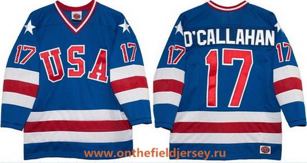 Men's 1980 Olympics USA #17 Jack O'Callahan Royal Blue Throwback Stitched Vintage Ice Hockey Jersey