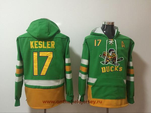 Men's Anaheim Ducks #17 Ryan Kesler Green Pocket Stitched NHL Old Time Hockey Pullover Hoodie
