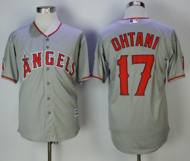 Men's Los Angeles Angels #17 Shohei Ohtani Gray Road Stitched MLB Majestic Cool Base Jersey