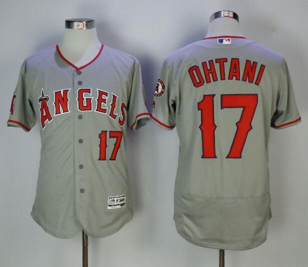 Men's Los Angeles Angels #17 Shohei Ohtani Gray Road Stitched MLB Majestic Flex Base Jersey