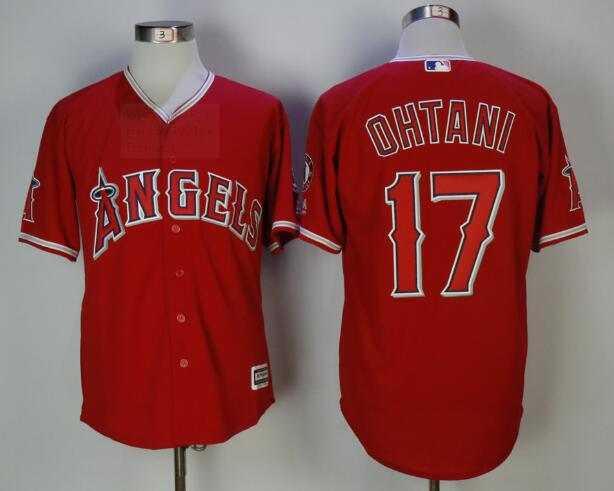 Men's Los Angeles Angels #17 Shohei Ohtani Red Stitched MLB Majestic Cool Base Jersey