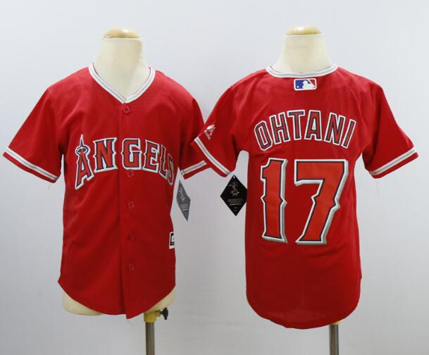 Youth Los Angeles Angels #17 Shohei Ohtani Red Stitched MLB Majestic Cool Base Jersey