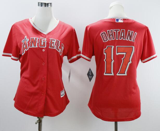 Women's Los Angeles Angels #17 Shohei Ohtani Red Stitched MLB Majestic Cool Base Jersey