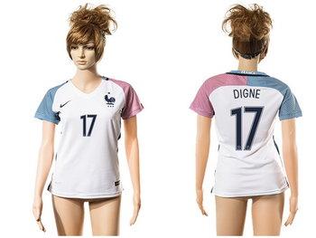2016 European Cup France Away #17 Digne White Women's Soccer A+ Shirt