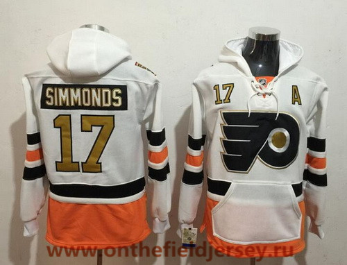 Men's Philadelphia Flyers #17 Wayne Simmonds White with Gold 50th Patch Pocket Stitched NHL Old Tim Hockey Hoodie