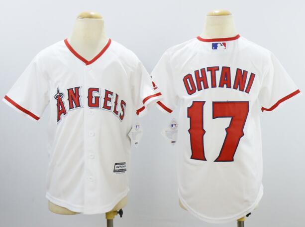 Youth Los Angeles Angels #17 Shohei Ohtani White Stitched MLB Majestic Cool Base Jersey