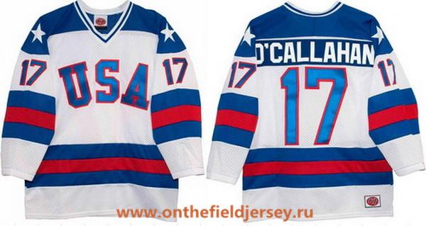 Men's 1980 Olympics USA #17 Jack O'Callahan White Throwback Stitched Vintage Ice Hockey Jersey