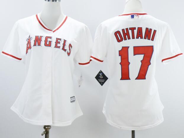 Women's Los Angeles Angels #17 Shohei Ohtani White Stitched MLB Majestic Cool Base Jersey