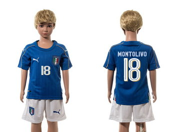 2016 European Cup Italy Home #18 Montolivo Blue Youth Soccer Shirt Kit