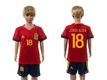 2016 European Cup Spain Home #18 Jordi Alba Red Youth Soccer Shirt Kit