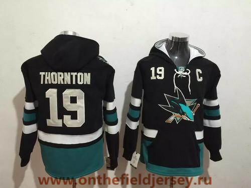 Men's San Jose Sharks #19 Joe Thornton NEW Black Pocket Stitched NHL Old Time Hockey Hoodie