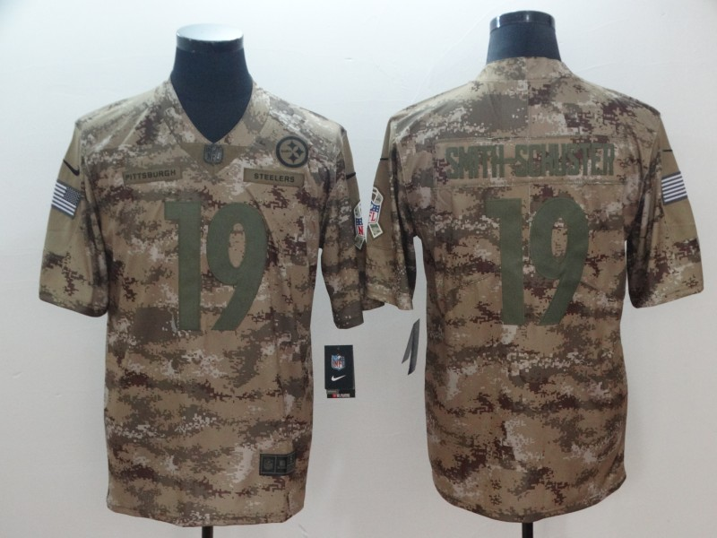 Men's Pittsburgh Steelers #19 JuJu Smith-Schuster Nike Camo 2018 Salute to Service Stitched NFL Limited Jersey