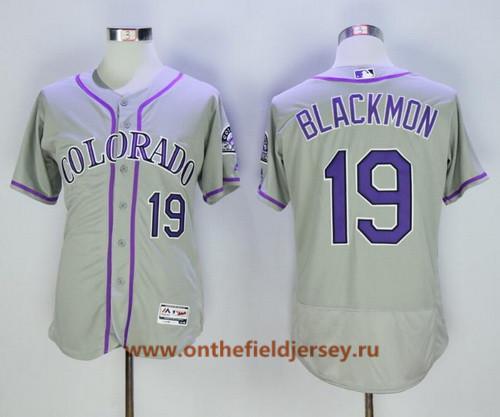 Men's Colorado Rockies #19 Charlie Blackmon Gray Road Stitched MLB Majestic Flex Base Jersey
