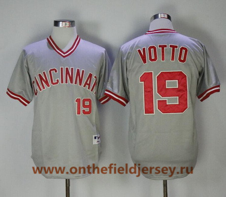 Men's Cincinnati Reds #19 Joey Votto Gray Pullover 2013 Cooperstown Collection Stitched MLB Majestic Jersey