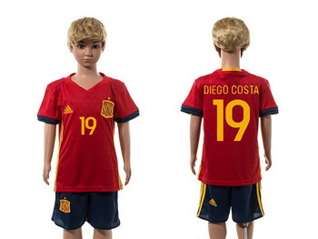 2016 European Cup Spain Home #19 Diego Costa Red Youth Soccer Shirt Kit